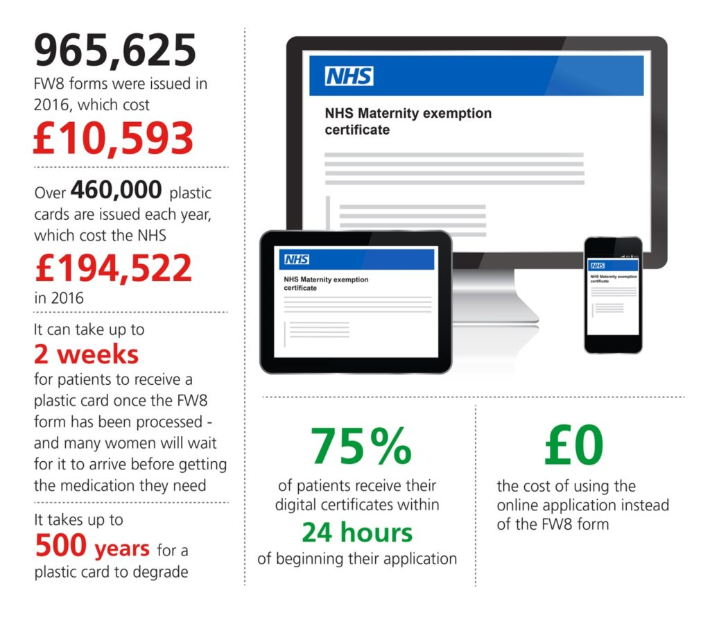Digital maternity exemption service infographic